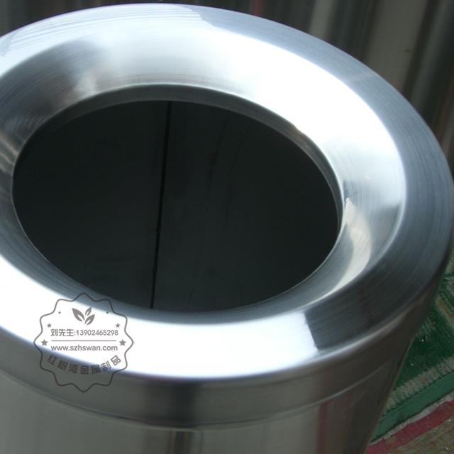 不锈钢圆形斜口垃圾筒图片005