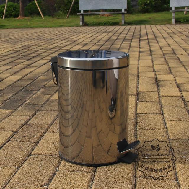 圆形脚踏式不锈钢垃圾桶图片001