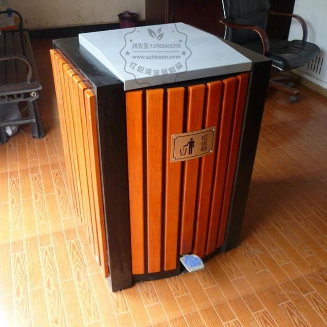脚踏式钢木垃圾桶图片002