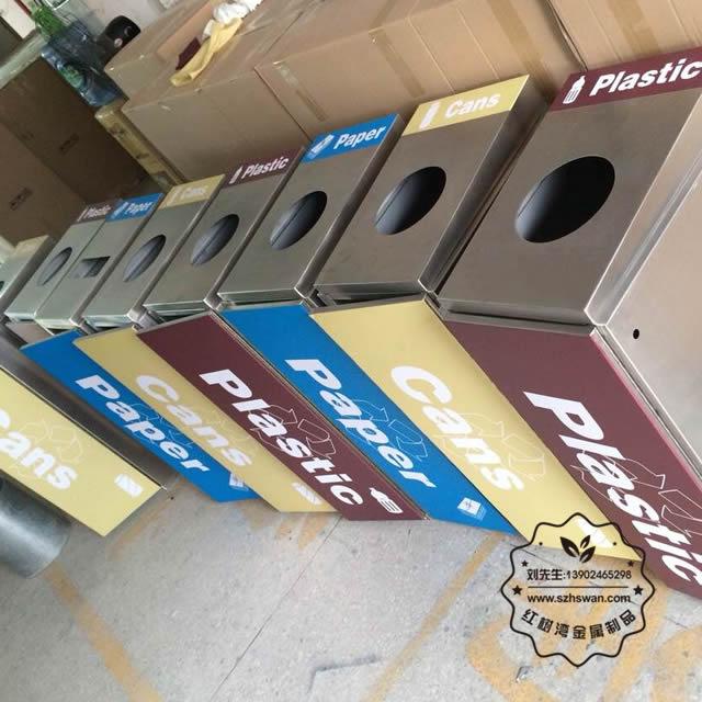 不锈钢四分类环保回收桶图片002