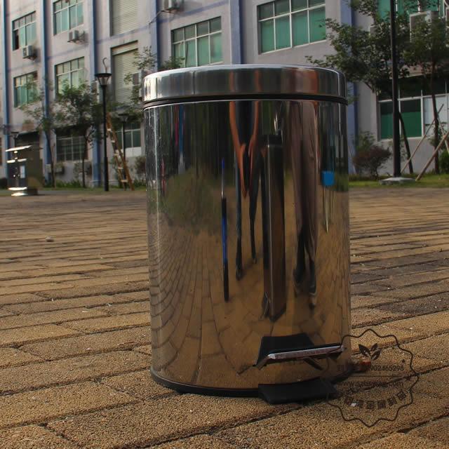 圆形脚踏式不锈钢垃圾桶图片002