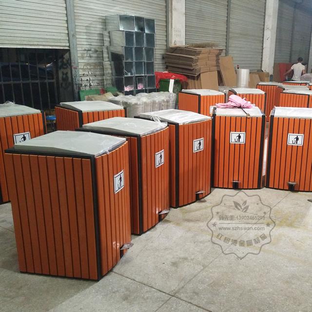 脚踏式钢木垃圾桶图片003