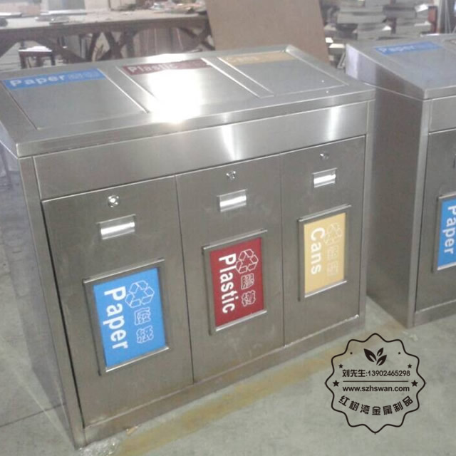 方形不锈钢三分类垃圾桶图片003