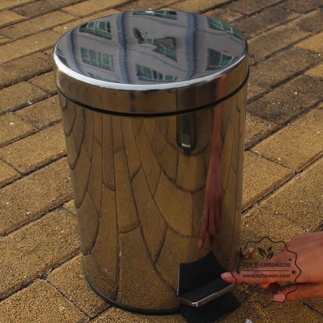 圆形脚踏式不锈钢垃圾桶图片003