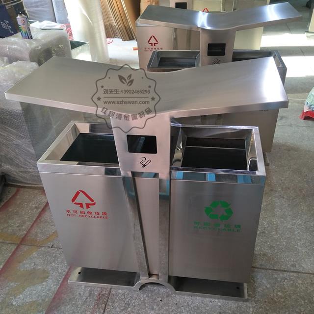 翼形不锈钢分类垃圾桶图片002