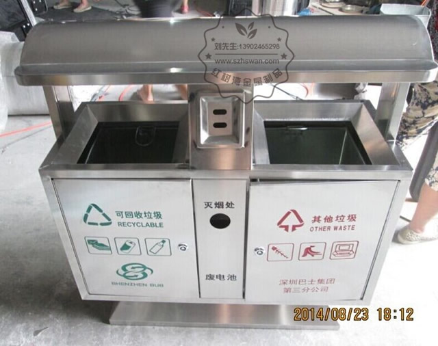 户外景区常用不锈钢分类环保垃圾桶图片001