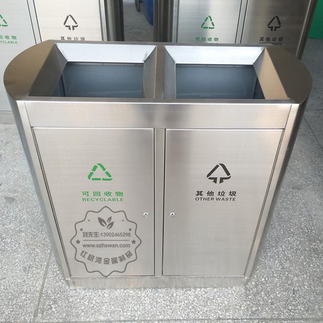 室内机场双筒不锈钢分类垃圾箱图片001
