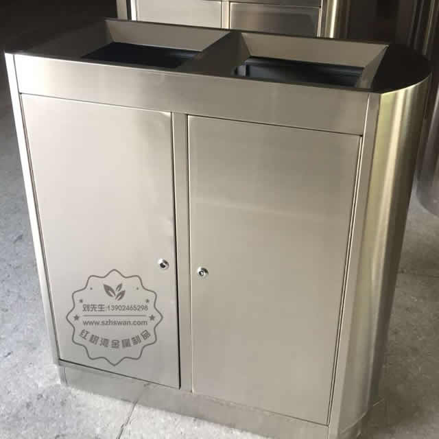 双筒立式室内不锈钢分类垃圾箱图片002