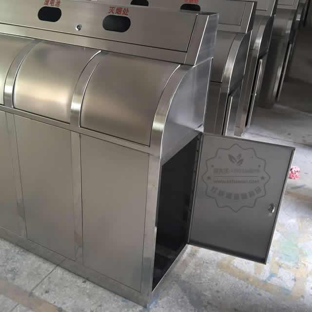 不锈钢三分类摇盖垃圾桶图片003
