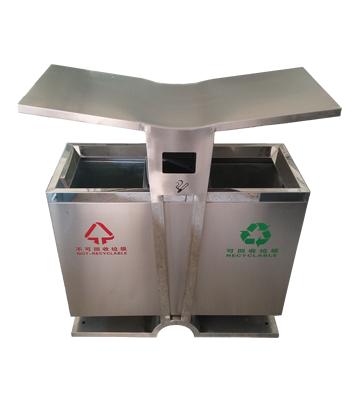 翼形不锈钢分类垃圾桶主图