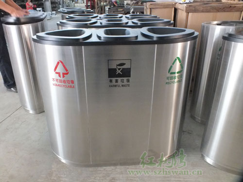 不锈钢三分类垃圾桶净化北京校园环境