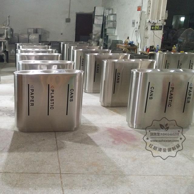 宝安机场不锈钢三分类垃圾桶图片003