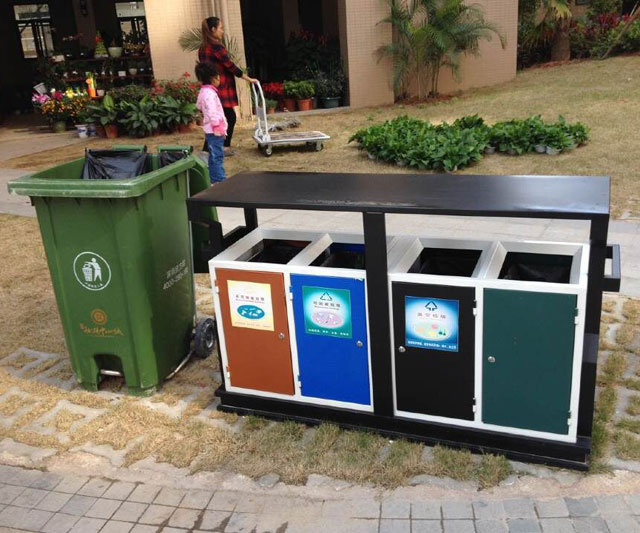 分类垃圾桶标识可回收与不可回收垃圾区分