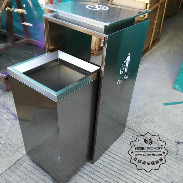 方形电梯口不锈钢垃圾桶图片08