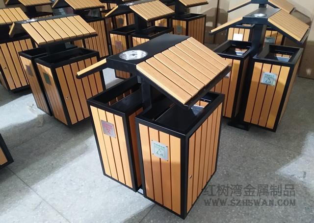 防腐木钢木分类垃圾箱