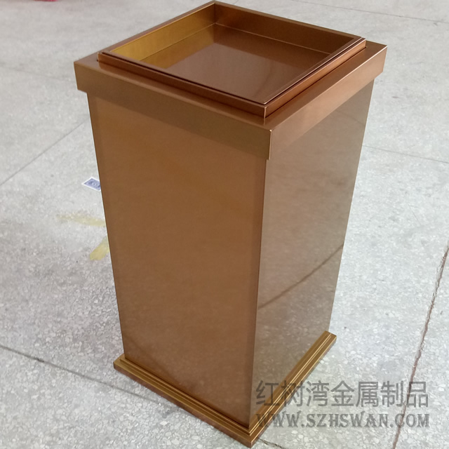 韶关益华广场采购电镀玫瑰金室内不锈钢垃圾桶案例