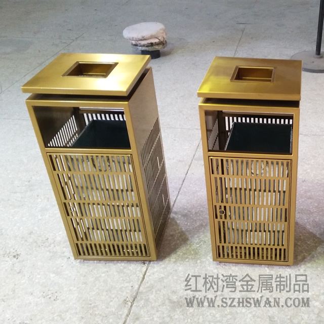 酒店方形室内不锈钢垃圾桶图片006