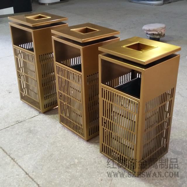 广州天河区物业采购镂空式土豪金方形不锈钢垃圾桶项目