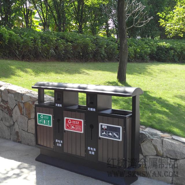 中国美林湖物业采购三桶钢木分类垃圾箱案例