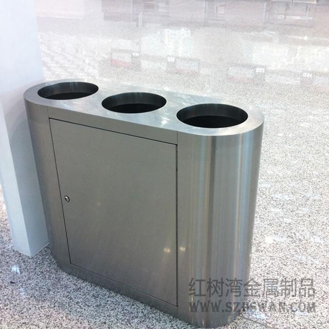 深圳机场三筒不锈钢分类垃圾桶案例图片3