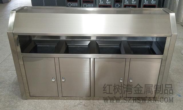珠海高新区户外不锈钢四分类垃圾箱市政案例