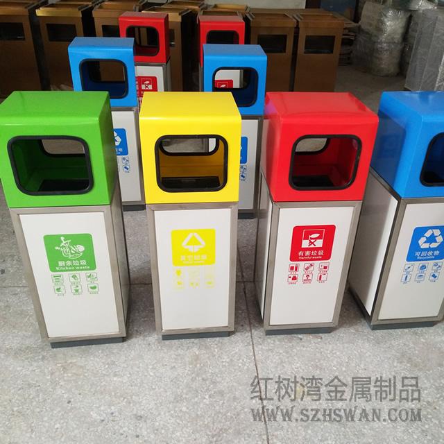 汕头方形分类不锈钢垃圾桶学校采购案例