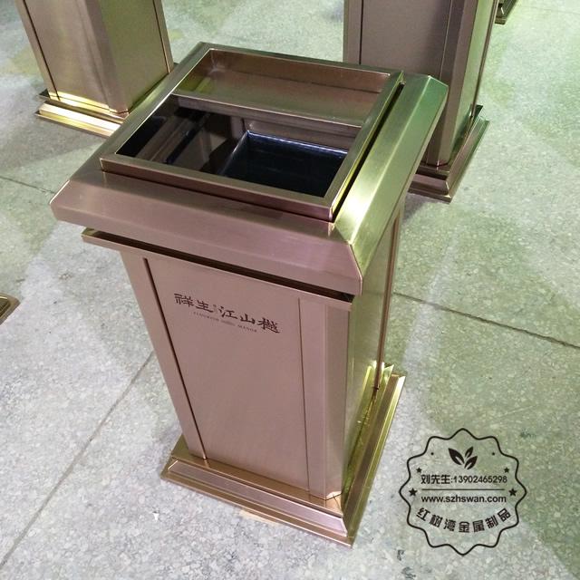 江苏泰州高档方形室内不锈钢垃圾回收箱定做