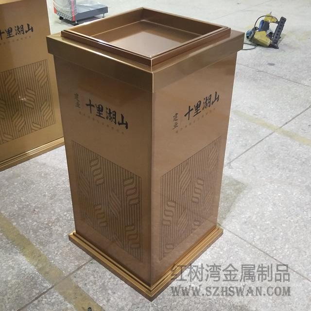 高档土豪金室内方形不锈钢垃圾桶入驻南阳建业十里湖山