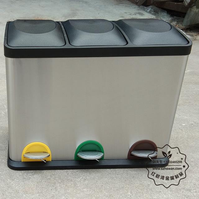 重庆室内脚踏式分类不锈钢垃圾桶采购