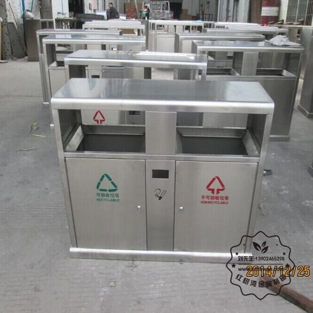 市政双分类不锈钢垃圾桶