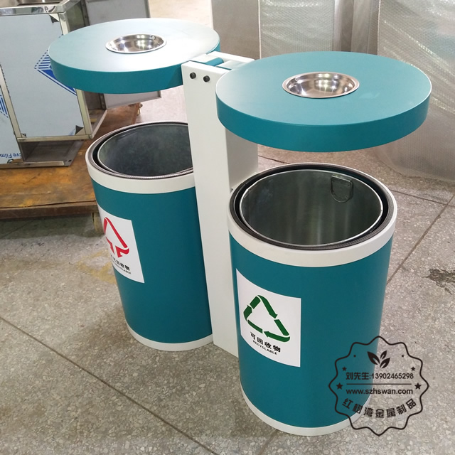 圆柱形户外不锈钢垃圾桶