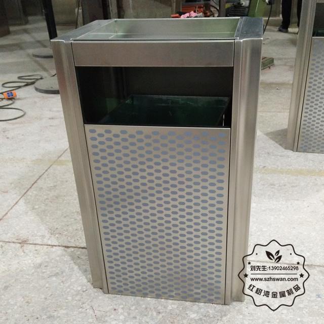 喷塑电梯口室内方形不锈钢果皮箱01