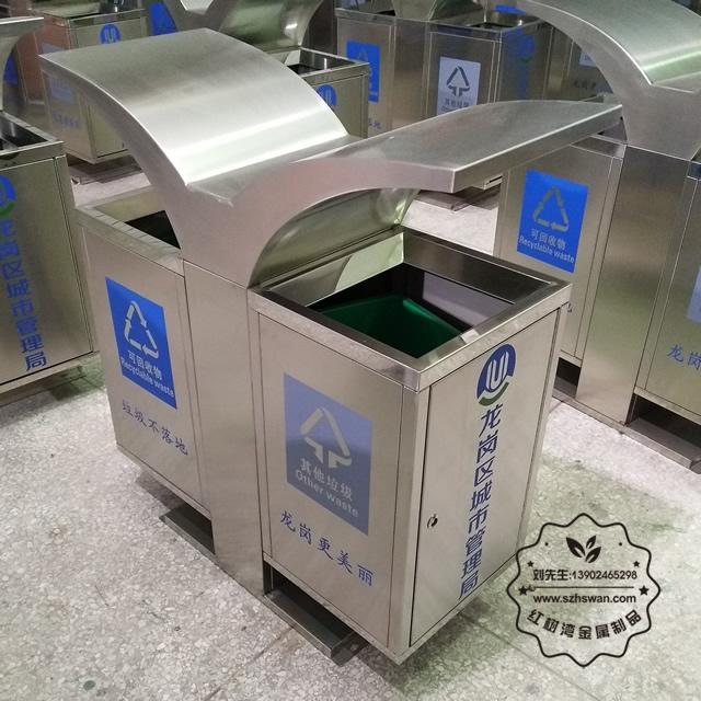 创意市政街道分类不锈钢垃圾箱001