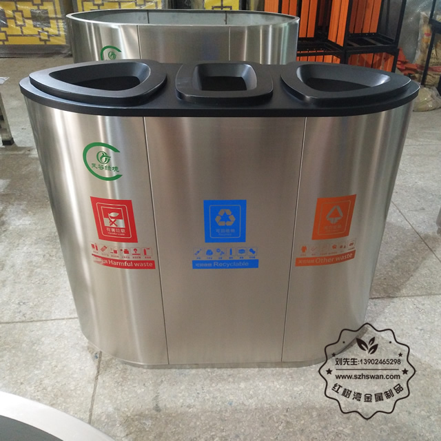 高档大号不锈钢垃圾桶