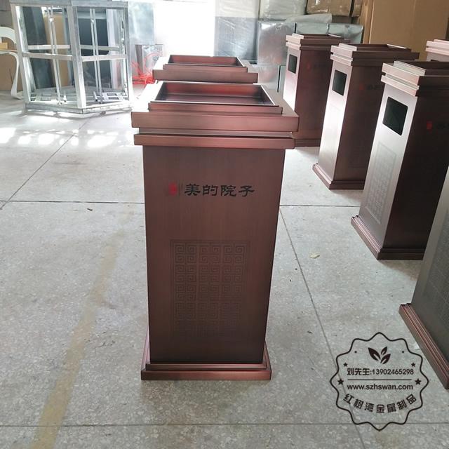 高档小区物业室内方形不锈钢垃圾箱01