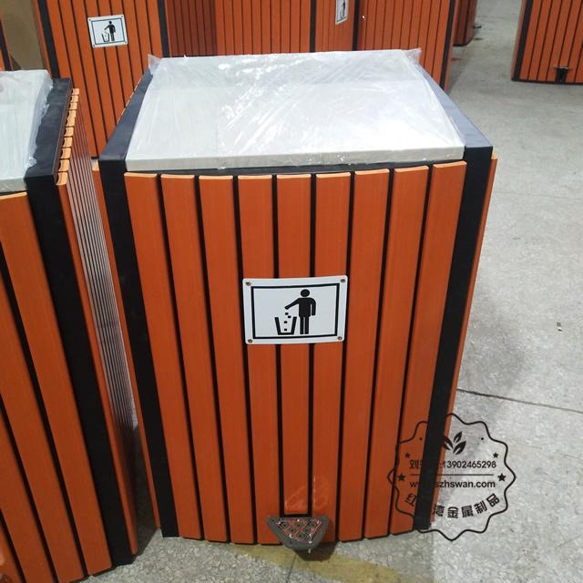 室内脚踏式钢木垃圾桶图片002
