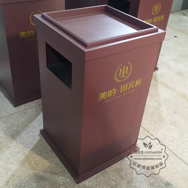 方形电梯口不锈钢垃圾桶图片02