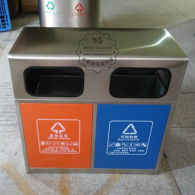 户外城市街道双分类不锈钢垃圾箱图片002