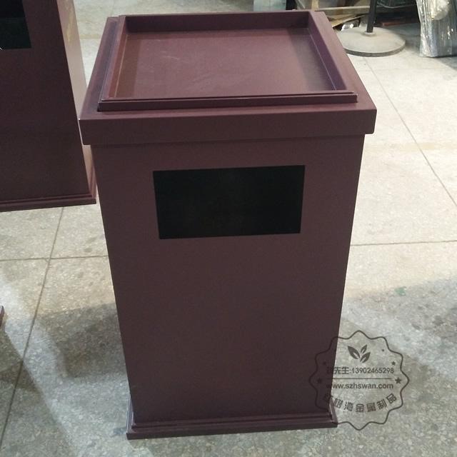 喷塑室内电梯口方形铁皮果皮箱图片002