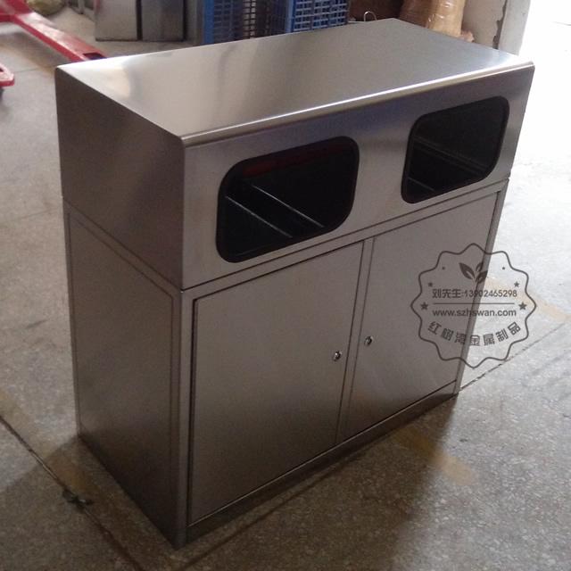 户外城市街道双分类不锈钢垃圾箱图片003
