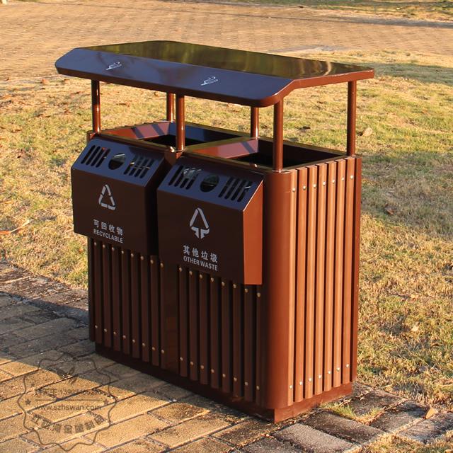 景区进口樟木分类钢木垃圾桶图片001