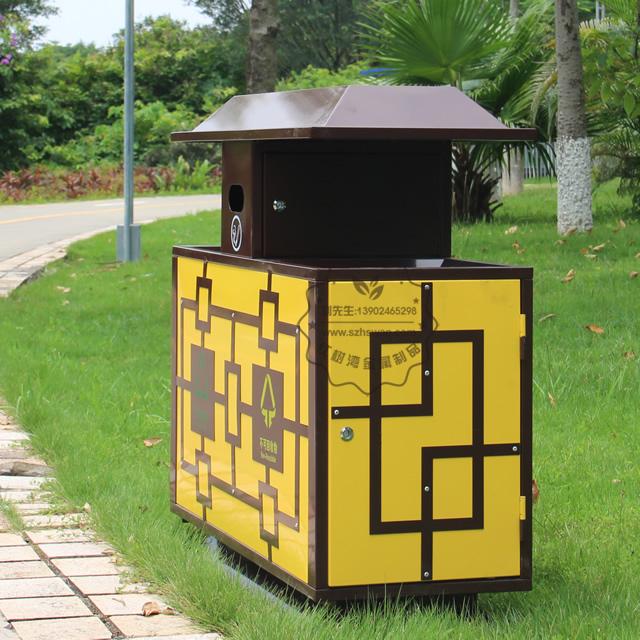 景区物业户外冷轧钢分类钢制垃圾箱图片002