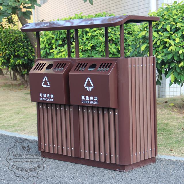 景区进口樟木分类钢木垃圾桶图片002