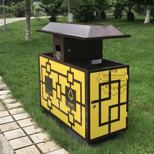景区物业户外冷轧钢分类钢制垃圾箱图片003