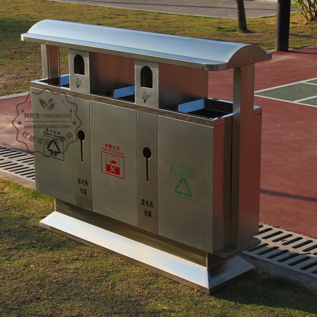 户外三分类不锈钢垃圾箱图片002