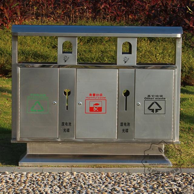 户外三分类街道不锈钢垃圾箱图片002