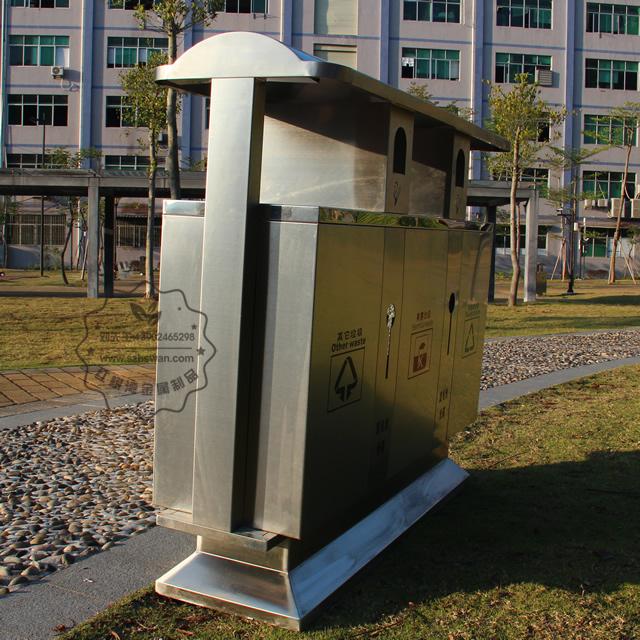 户外三分类街道不锈钢垃圾箱图片003