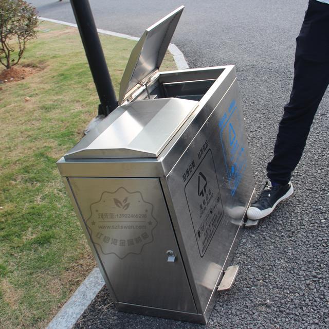 脚踏式不锈钢分类垃圾桶图片001