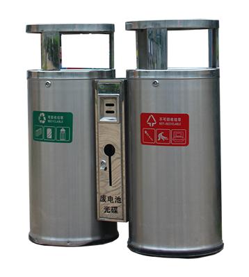 圆柱形户外双分类不锈钢垃圾桶主图