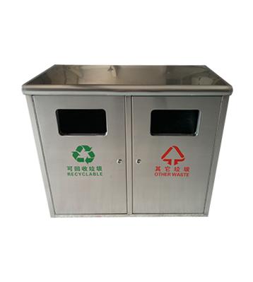 校园简洁方形户外不锈钢垃圾箱主图
